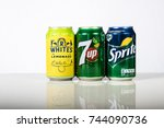 London, 24th October 2017:- Cans of Lemonade against a white background - stock photo