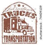 truck transportation stamp   Shutterstock .eps vector #74409109