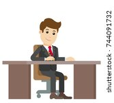 businessman sitting at desk and ... | Shutterstock .eps vector #744091732
