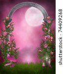 Pink Garden With A Stone Arch...