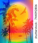 tropical sunset or tropical... | Shutterstock .eps vector #744092806