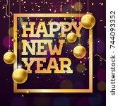 happy new year 2018... | Shutterstock . vector #744093352