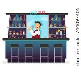 beer bar   restaurant.... | Shutterstock .eps vector #744097405