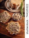 tuna paste on healthy... | Shutterstock . vector #744105322