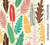 abstract color tropical leaves... | Shutterstock .eps vector #744109048