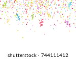 many falling multicolored... | Shutterstock .eps vector #744111412