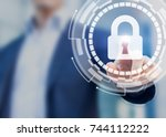 cyber security and data privacy ... | Shutterstock . vector #744112222