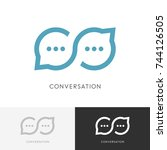 infinity conversation logo  ... | Shutterstock .eps vector #744126505