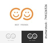 best friends logo   two smiling ... | Shutterstock .eps vector #744126526
