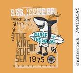 surf shark t shirt   Shutterstock .eps vector #744126595