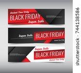 black friday sale design banner ... | Shutterstock .eps vector #744138586