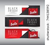 black friday sale design banner ... | Shutterstock .eps vector #744138592