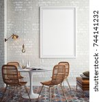 interior of white and beige...   Shutterstock . vector #744141232