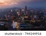 guangzhou city in fog at... | Shutterstock . vector #744144916