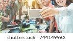 new generation teamwork taking... | Shutterstock . vector #744149962