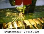 the fiber  laser cutting... | Shutterstock . vector #744152125