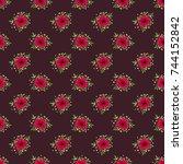 seamless floral pattern.... | Shutterstock .eps vector #744152842