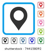 map marker icon. flat grey... | Shutterstock .eps vector #744158092