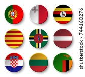 set of world flags round badges ... | Shutterstock .eps vector #744160276
