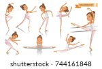 ballet of ballerina. beautiful... | Shutterstock .eps vector #744161848