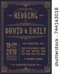 wedding invitation card art... | Shutterstock .eps vector #744163018