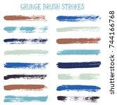 modern watercolor daubs set ... | Shutterstock .eps vector #744166768