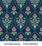 seamless colorful damask... | Shutterstock .eps vector #744168562