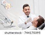 horizontal shot of a... | Shutterstock . vector #744170395