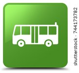 bus icon isolated on soft green ... | Shutterstock . vector #744173782