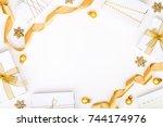christmas or new year frame... | Shutterstock . vector #744174976