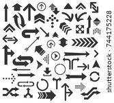set of numerous black arrows... | Shutterstock .eps vector #744175228