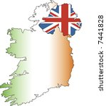 ireland as map and flag | Shutterstock .eps vector #7441828