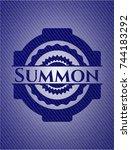 summon emblem with denim high... | Shutterstock .eps vector #744183292