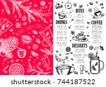 christmas food menu for... | Shutterstock .eps vector #744187522