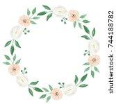 watercolor flower wedding... | Shutterstock . vector #744188782