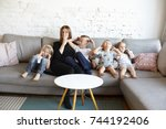 big family of three spoiled... | Shutterstock . vector #744192406
