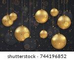 vector modern christmas or 2018 ...   Shutterstock .eps vector #744196852