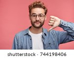 stylish fashionable male poses... | Shutterstock . vector #744198406