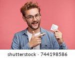 handsome bearded man dressed...   Shutterstock . vector #744198586
