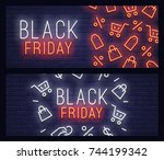 set web banner black friday.... | Shutterstock .eps vector #744199342