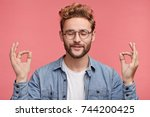 relaxed carefree male student...   Shutterstock . vector #744200425