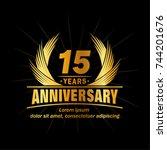 15 years design template.... | Shutterstock .eps vector #744201676