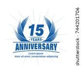 15 years design template.... | Shutterstock .eps vector #744201706