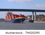 container vessel and tanker - stock photo