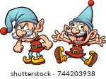 angry and happy christmas elf.... | Shutterstock .eps vector #744203938