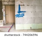 apartment repair. repair in the ... | Shutterstock . vector #744206596