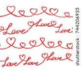 crayon hand drawn valentine day ... | Shutterstock .eps vector #744206935