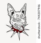 cat head portrait in red choker....   Shutterstock .eps vector #744207946