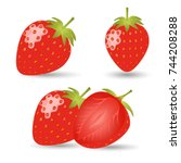red strawberry icon with shadow | Shutterstock .eps vector #744208288