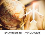 world touring with airplane... | Shutterstock . vector #744209305